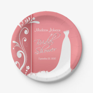 Bridal Shower in a Beautiful Coral Design 7 Inch Paper Plate
