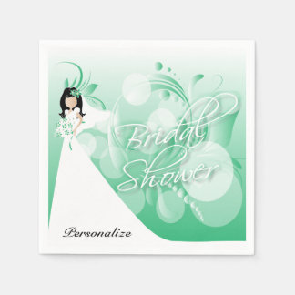 Bridal Shower in a Pretty Mint Green and White Paper Napkins