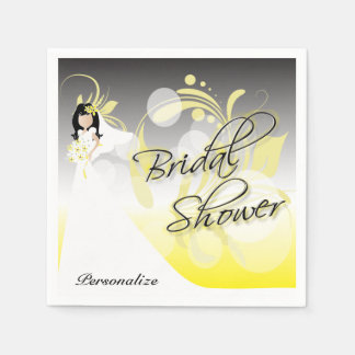 Bridal Shower in a Pretty Yellow and Gray Disposable Napkins