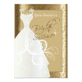 "Bridal Shower in Antique Gold Damask 5"" X 7"" Invitation Card"