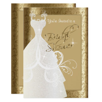 Bridal Shower in Antique Gold Damask Card