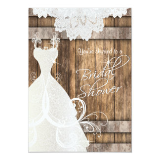 "Bridal Shower in Rustic Wood and Lace 5"" X 7"" Invitation Card"