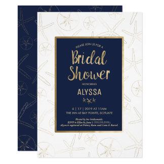 Bridal Shower Invitation, Beachy, Gold Starfish Card
