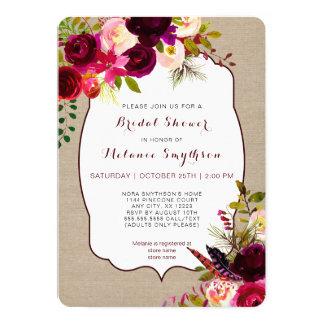Bridal Shower Invitation, burgundy floral rustic Card