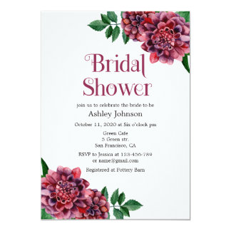 Bridal shower invitation dahlias. Burgundy invites