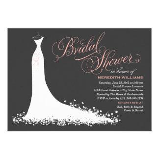 Bridal Shower Invitation Elegant Wedding Gown Custom Invitations
