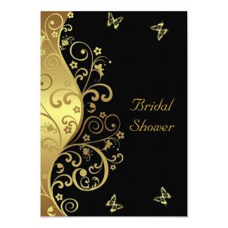 Bridal Shower Invitation--Gold Swirls & Black 5x7 Card