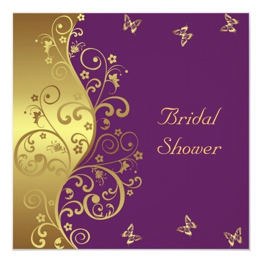 Bridal Shower Invitation--Gold Swirls & Red Violet Card
