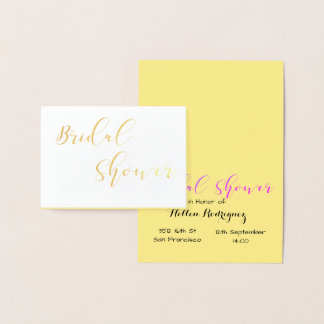 Bridal Shower invitation Golden Foil Card