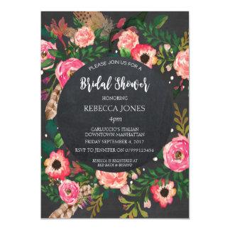 Bridal Shower invitation modern floral chalkboard