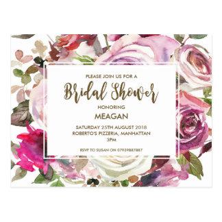Bridal Shower invitation modern floral lilac Postcard