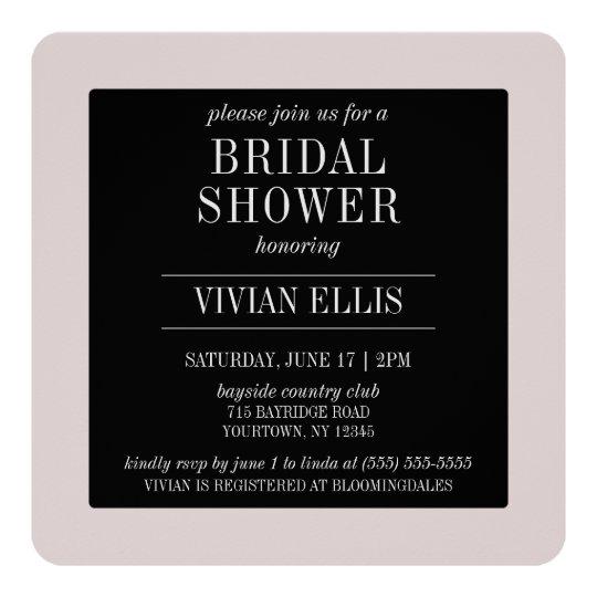 Bridal Shower Invitation - Modern Pink Black White