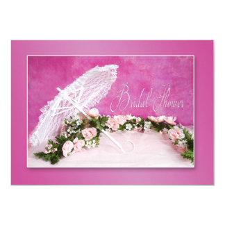 BRIDAL SHOWER INVITATION -PINK/Flowers/Parasol