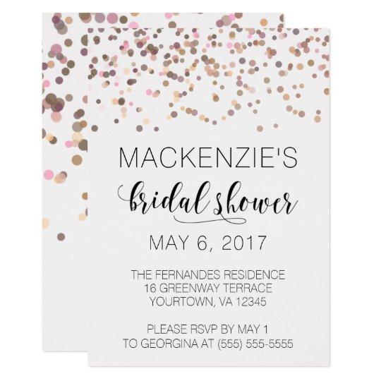 Bridal Shower Invitation - Pink Rose Gold Confetti