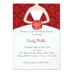 Bridal Shower invitation red damask