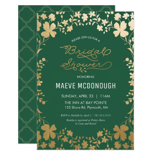 Bridal shower invitation vintage green gold card zazzle bridal shower invitation vintage green gold card stopboris Images