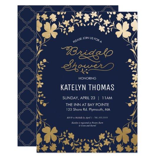 Bridal Shower Invitation, Vintage Navy Gold Flower Card
