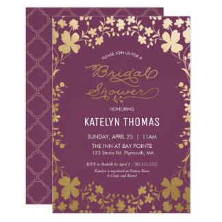 Bridal Shower Invitation, Vintage Purple & Gold Card