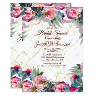 Bridal Shower Invitation watercolor florals