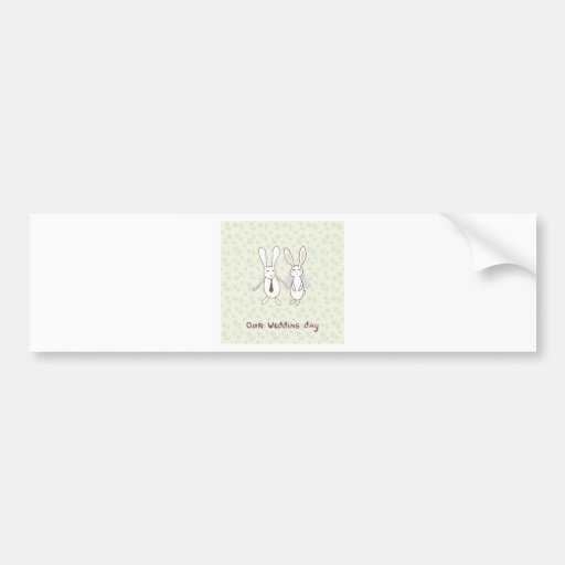 Bridal shower invitation with two cute rabbits in bumper stickers