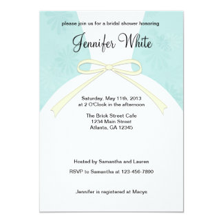 Bridal Shower Invitations Blue Dress