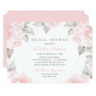 Bridal Shower Invitations | Pink Watercolor Roses