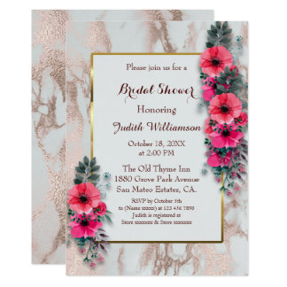 Bridal Shower Invitations Red Poppies