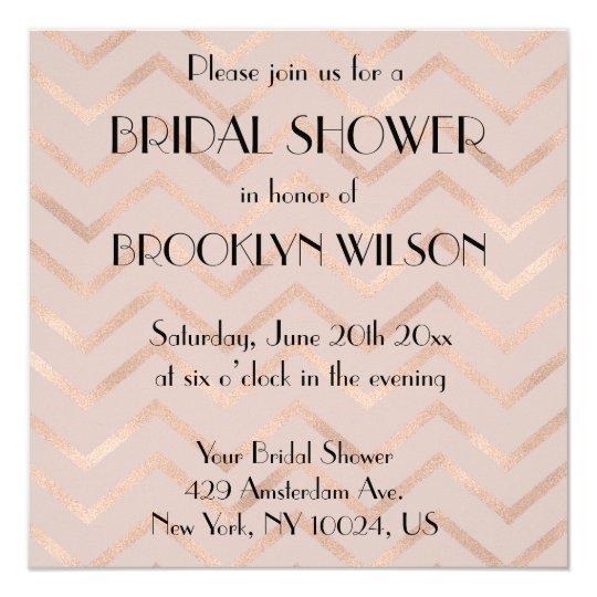 Bridal Shower Invitations Rose Gold Chevron