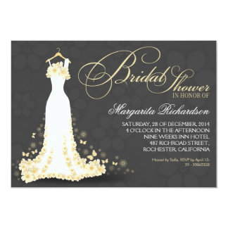 bridal shower invitations with wedding gown