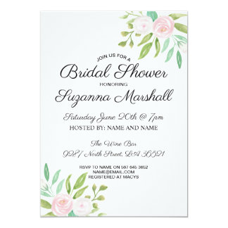 Bridal Shower Invite Pink White Flower Floral