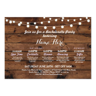 Bridal Shower Itinerary Bachelorette Rustic Lights Card