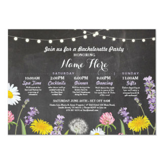 Bridal Shower Itinerary Bachelorette Wild Flowers Card