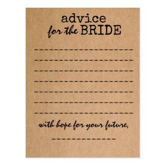 Bridal Shower Kraft Advice Card Postcard