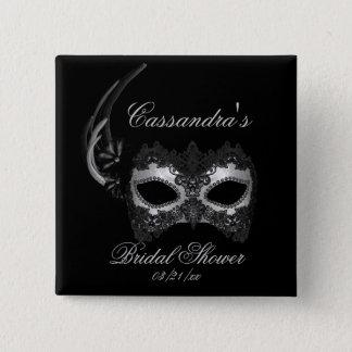 """Bridal Shower"" - Lace Masquerade Mask 2 Inch Square Button"
