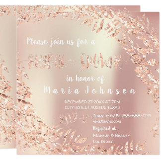 Bridal Shower Leafs Wrath Glitter Pink Rose Gold Card