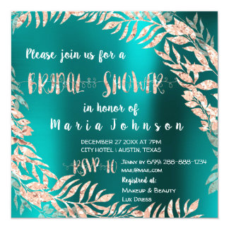 Bridal Shower Leafs Wrath Glitter Rose Gold Teal Card
