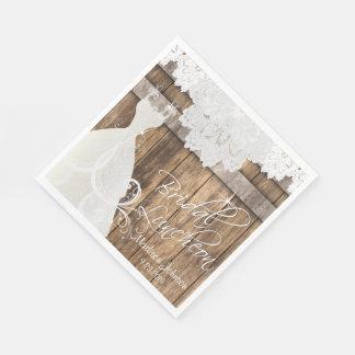 Bridal Shower Luncheon - Rustic Barn Wood Design Paper Napkin