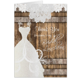 Bridal Shower Luncheon - Rustic Wood and Lace Card