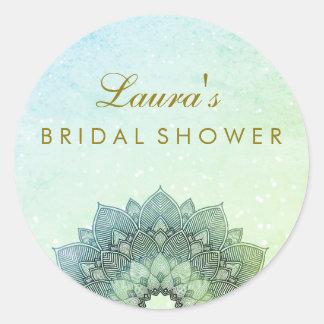 Bridal Shower Mandala Lotus Flower Swirl Classic Round Sticker