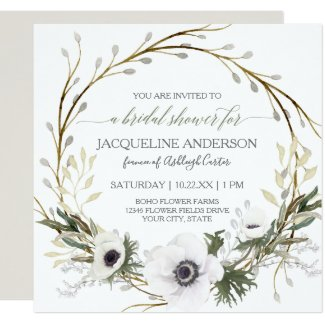 Bridal Shower Modern Anemone Twig Fern Eucalyptus Invitation