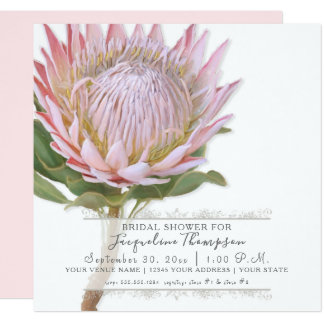 Bridal Shower Modern Elegant King Protea Flower Card