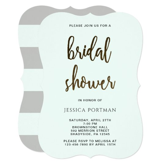 Bridal Shower Modern Mint and Grey Stripes Card