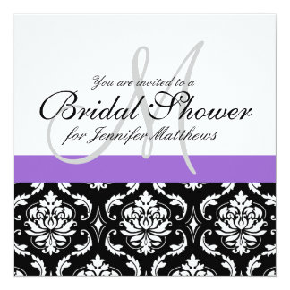 Bridal Shower Monogram Damask Invitation Purple