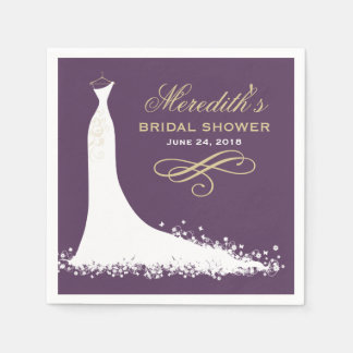 Bridal Shower Napkins | Elegant Wedding Gown Disposable Napkins