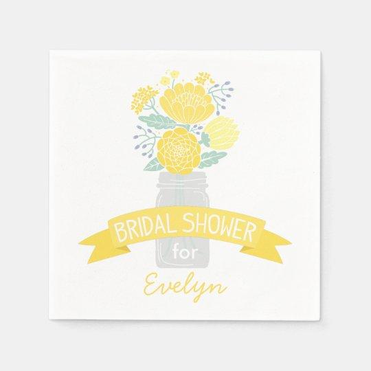 Bridal Shower Napkins | Mason Jar Bouquet Paper Napkins