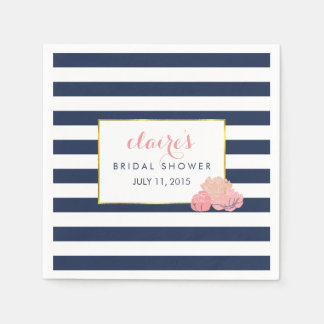 Bridal Shower Napkins | Midnight Blush Peony Disposable Napkins