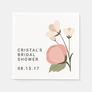 Bridal Shower Napkins Pink Pastel Floral Flower
