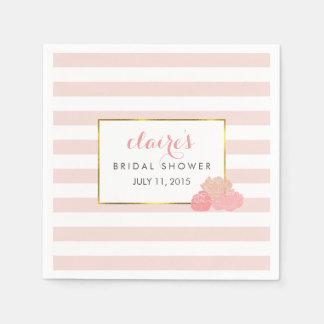 Bridal Shower Napkins | Pink Stripe & Blush Peony Paper Napkin