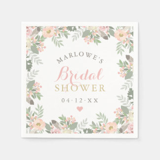 Bridal Shower Napkins | Spring Boho Florals Disposable Napkins