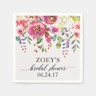 Bridal Shower Napkins Watercolor Floral Bouquet Disposable Napkin